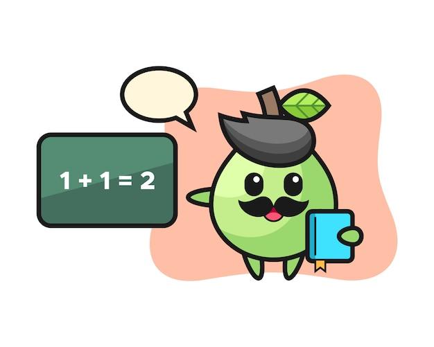 Illustrazione del personaggio guava come insegnante, design in stile carino per maglietta, adesivo, elemento logo