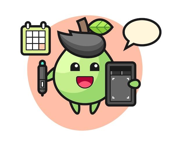 Illustrazione della mascotte guava come graphic designer, design in stile carino per t-shirt, adesivo, elemento logo