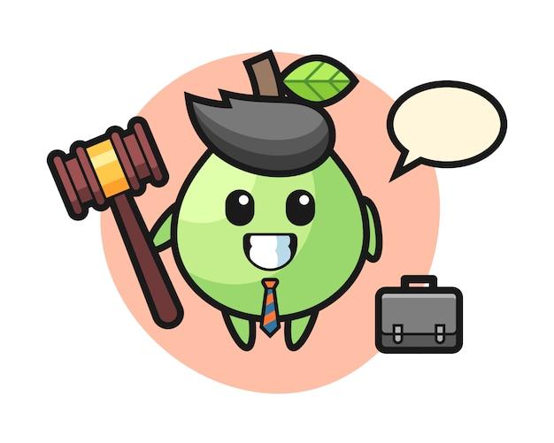 Illustrazione della mascotte guava come avvocato, design in stile carino per t-shirt, adesivo, elemento logo