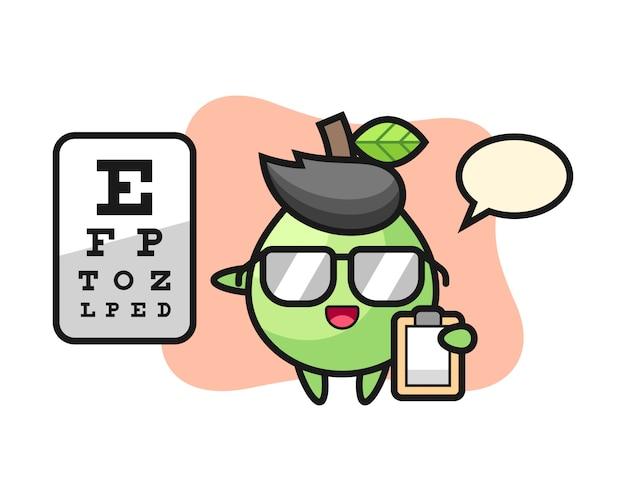 Illustrazione della mascotte guava come oftalmologia, stile carino per t-shirt, adesivo, elemento logo