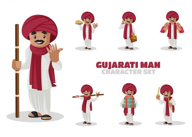 Illustrazione di gujarati man character set