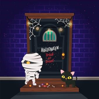 Illustrazione. manifesto di halloween con simpatico personaggio su mattoni e porta spaventosa. modello di dolcetto o scherzetto.