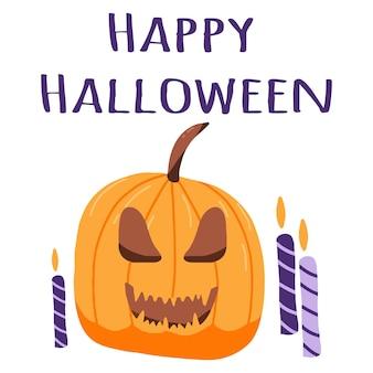 Illustrazione della zucca di halloween con le candele poster di halloween