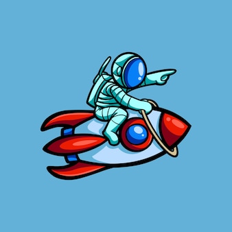 Illustrazione mano disegno astronauta personaggio e razzo con stile cartoon