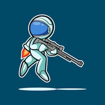 Illustrazione mano disegno astronauta personaggio e cecchino con stile cartoon