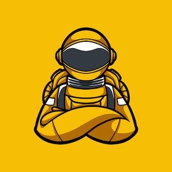 Illustrazione mano disegno astronauta carattere con stile cartoon