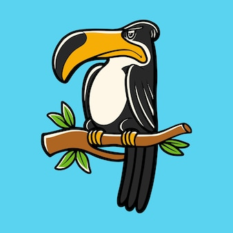Illustrazione mano disegno uccello tucano carattere con stile cartoon
