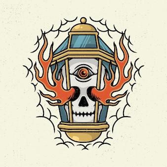 Illustrazione disegno a mano con arte al tratto approssimativo, concetto di lampada con scheletro della testa e fuoco brucia