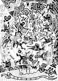 Illustrazione, doodle disegnato a mano di persone pazze negli scarabocchi psichedelici della città.