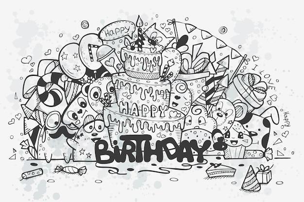 Illustrazione di uno scarabocchi disegnati a mano su un tema di compleanno. contorno nero