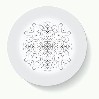 Ornamento disegnato a mano dell'illustrazione su un piattino e sullo sfondo