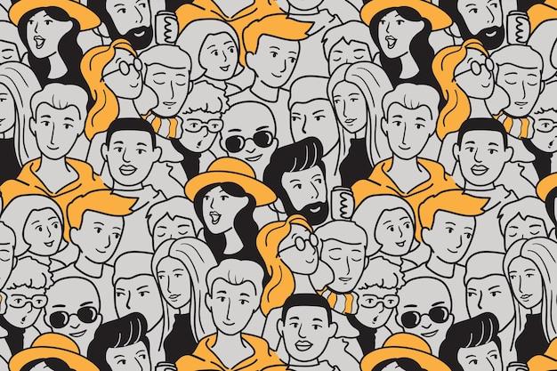 Illustrazione disegnata a mano persone seamless pattern