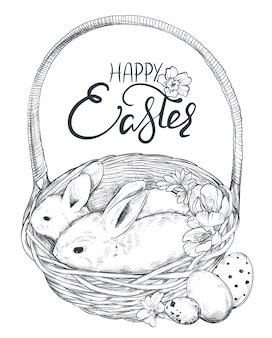 Illustrazione di conigli disegnati a mano nel cestino con uova decorate e fiori primaverili.