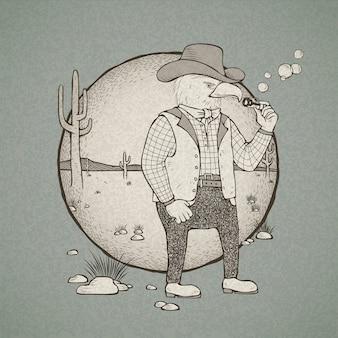 Illustrazione di disegnati a mano in stile retrò cowboy eagle