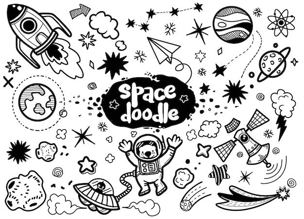 Illustrazione, elementi dello spazio disegnati a mano.