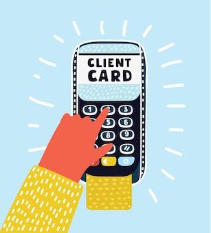 Illustrazione della mano e delle dita che entrano pin sul terminale pos per carta di credito.