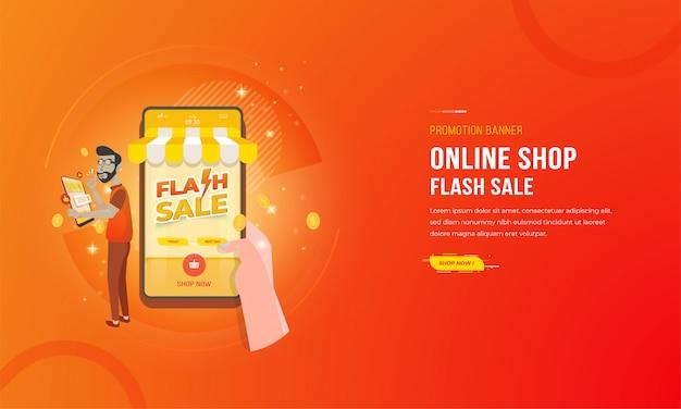 Illustrazione della mano che tiene uno smartphone con il concetto di promozione di commercio elettronico