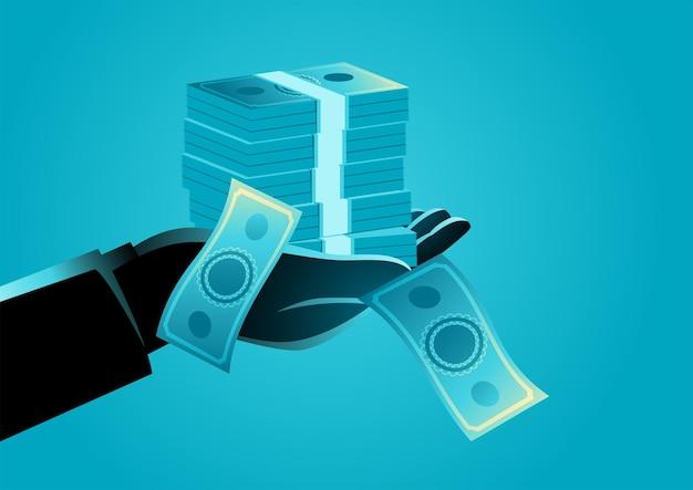 Illustrazione di una mano che tiene una pila di denaro, corruzione, stipendio, concetto di acquisto