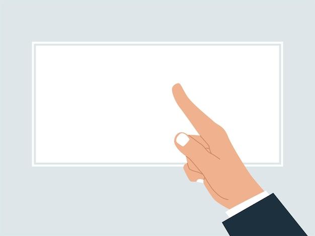 Illustrazione di una mano che indica un poster vuoto