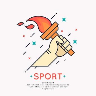 Illustrazione mano con una torcia accesa per giochi sportivi in stile grafico cartone animato