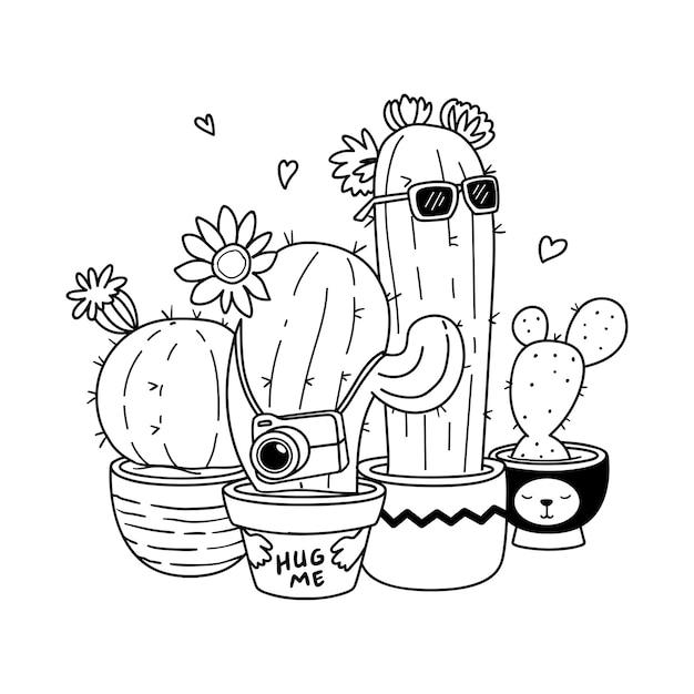 Illustrazione handdrawn cactus