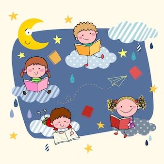 Illustrazione di cartoni animati disegnati a mano per bambini che leggono libri sulle nuvole di notte