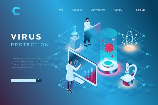 Illustrazione della gestione dei virus in laboratorio, prevenzione della diffusione di virus, ricerca sullo sviluppo della tecnologia sanitaria in stile isometrico 3d