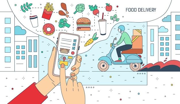 Illustrazione delle mani che tengono smartphone con l'applicazione del servizio di consegna di cibo