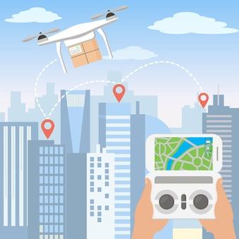 Illustrazione delle mani che lanciano il drone di consegna con il pacchetto tramite smartphone di fronte allo skyline di una grande città moderna con grattacieli in stile cartone animato piatto.