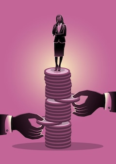 Un'illustrazione delle mani cerca di estrarre la moneta dalla pila di monete con una donna d'affari. concetto di problema economico o crisi finanziaria