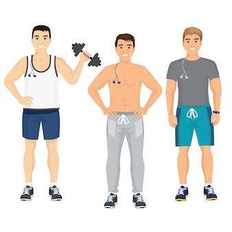 Illustrazione di bei ragazzi giovani in attrezzatura fitness in palestra. uomini sorridenti e felici di sport in palestra nello stile piano.
