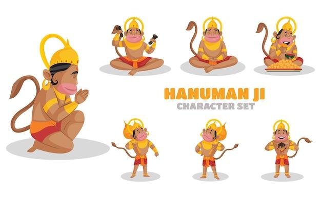 Illustrazione di hanuman ji set di caratteri
