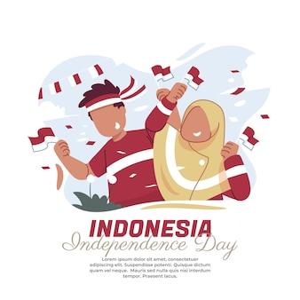Illustrazione della felicità nel giorno dell'indipendenza indonesiana