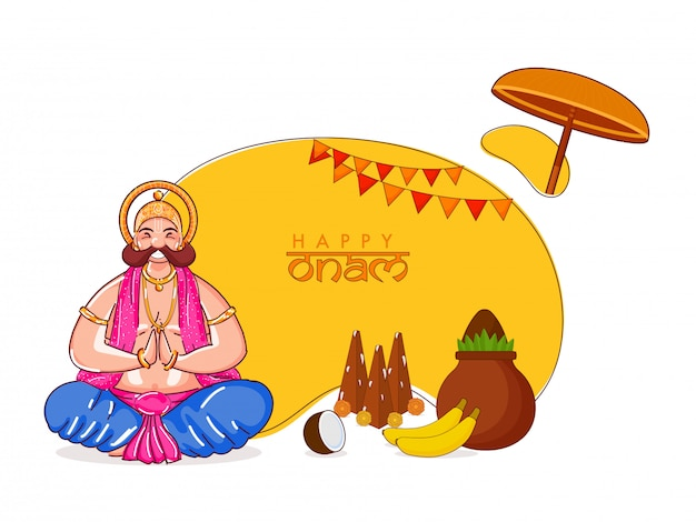 Illustrazione del re della felicità mahabali che fa namaste nella posa seduta con thrikkakara appan idol, frutti e vaso di adorazione (kalash) su sfondo giallo e bianco per happy onam.