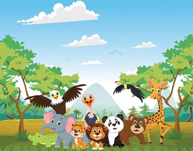 Illustrazione di animali felici nella giungla