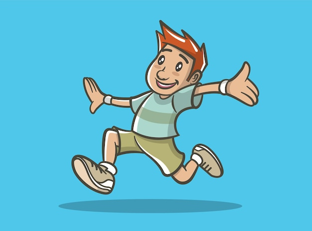 Illustrazione di un ragazzo felice in esecuzione.