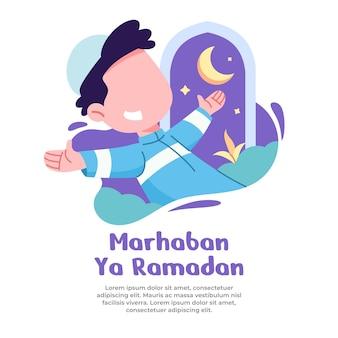 Illustrazione del ragazzo felice con il prossimo mese di ramadan