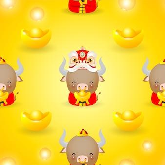 Illustrazione di felice anno nuovo cinese dello zodiaco bue mucca carina in costume rosso e danza del leone con pattern di soldi d'oro senza soluzione di continuità