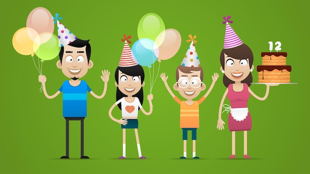 Illustrazione, famiglia felice festeggia il compleanno, formato eps 10