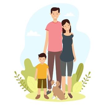 Illustrazione di una famiglia felice in un parco cittadino. giornata internazionale dell'illustrazione della famiglia
