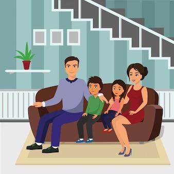 Illustrazione famiglia felice in salotto, seduta sul divano. padre, madre, figlio e figlia insieme seduti sul divano in stile cartone animato.