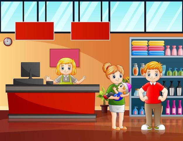 Illustrazione di una famiglia felice che fa acquisti al supermercato