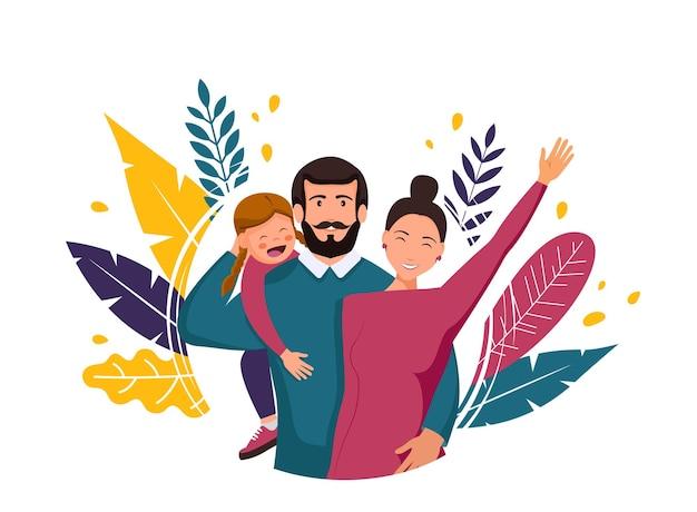 Illustrazione del padre felice con sua moglie e sua figlia
