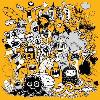Illustrazione del mostro felice, stile doodle