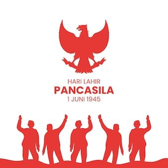 Illustrazione del giorno felice di pancasila. traduzione: selamat hari lahir pancasila.
