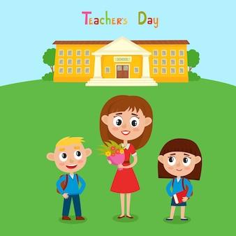 Illustrazione di felice insegnante con fiori e alunni in stile cartone animato. carta del giorno dell'insegnante felice.