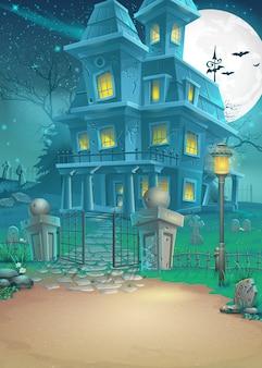 Illustrazione di una casa infestata in una notte illuminata dalla luna