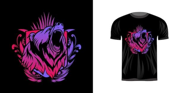 Illustrazione testa grizzly con colorazione al neon per il design della maglietta
