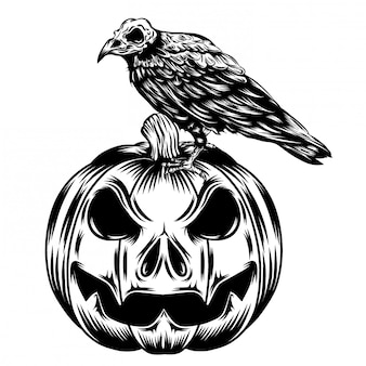 Illustrazione di zucche testa con corvo nero