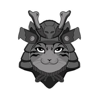Illustrazione testa samurai gatto bianco e nero